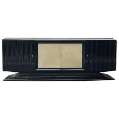Mid-Century Modern Hollywood Regency Art Deco Black Lacquered Sideboard, French