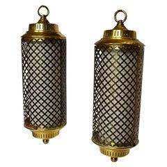 Mid-Century Modern Hollywood Regency Brass Swag Pendant Chandeliers, a Pair