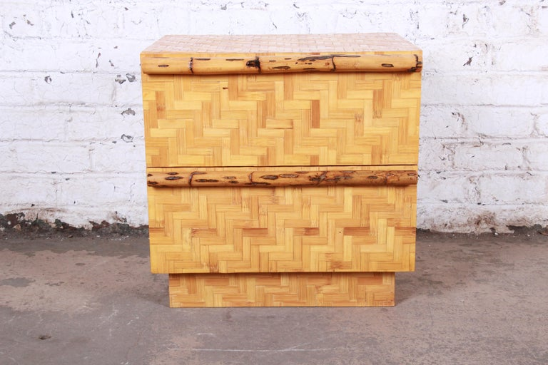 A gorgeous Mid-Century Modern Hollywood Regency chinoiserie bamboo parquetry two-drawer nightstand or end table