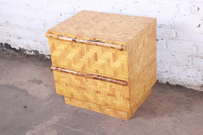 20th Century Mid-Century Modern Hollywood Regency Chinoiserie Bamboo Parquetry Nightstand For Sale