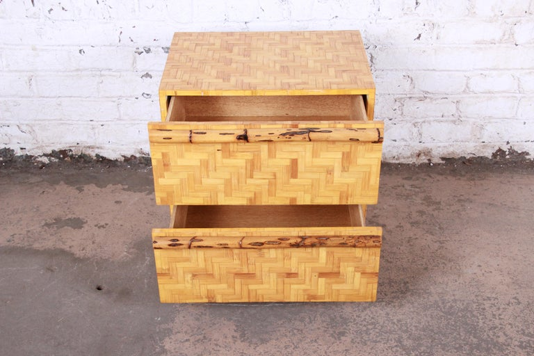 Mid-Century Modern Hollywood Regency Chinoiserie Bamboo Parquetry Nightstand For Sale 4
