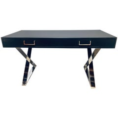 Mid-Century Modern Hollywood Regency Ebony Desk with Chrome Base