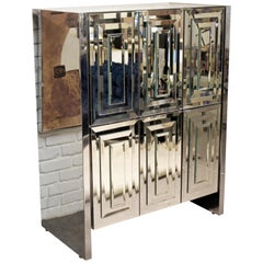 Mid-Century Modern Hollywood Regency Ello Mirrored Dry Bar 1970s Highboy