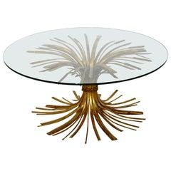 Mid-Century Modern Hollywood Regency Gilt Wheat Sheaf Round Cocktail Table 1960s