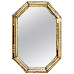 Mid-Century Modern Hollywood Regency Large Gold Gilt Wall Mirror, Italy, 1960s