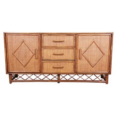 Mid-Century Modern Hollywood Regency Rattan and Bamboo Sideboard Credenza