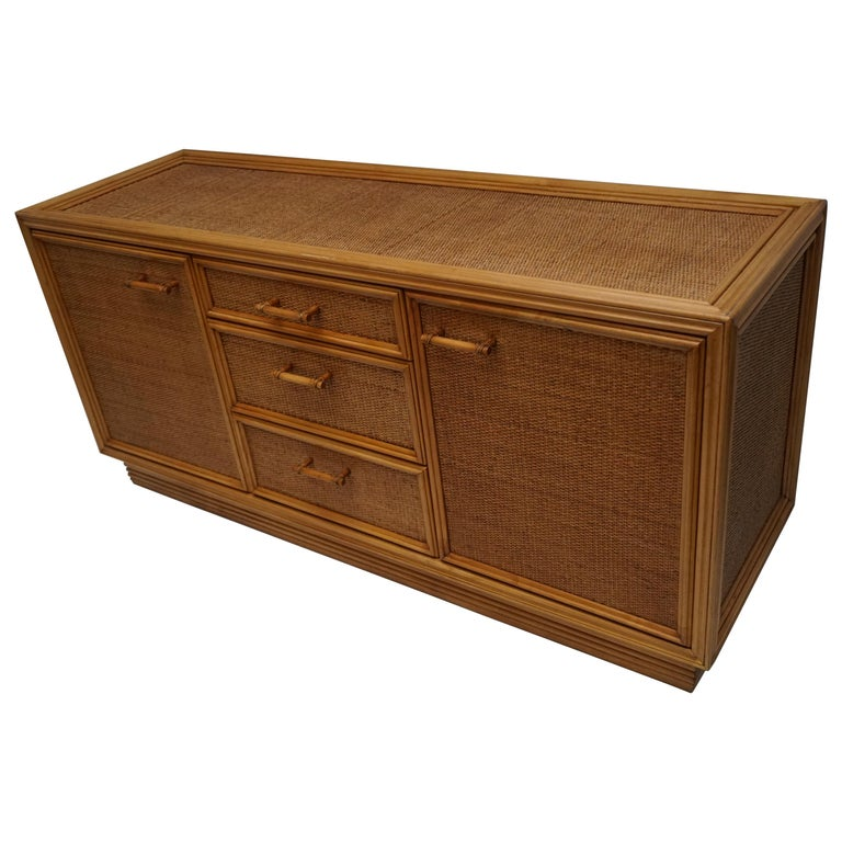Mid-Century Modern Hollywood Regency Rattan and Bamboo Sideboard Credenza For Sale