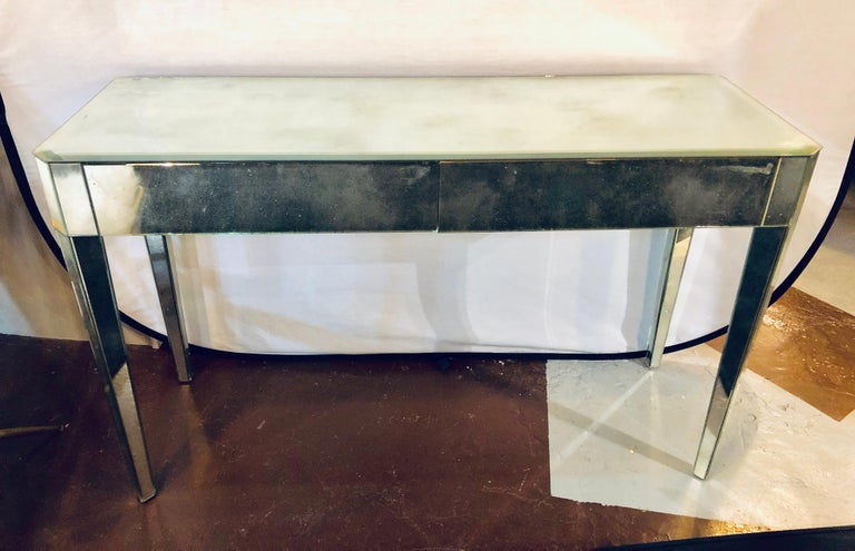 Mid Century Modern Hollywood Regency Two Drawer Mirrored Console Entry Table For Sale At 1stdibs