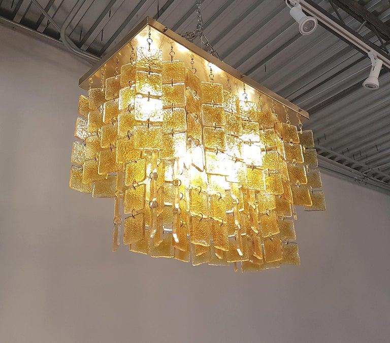 Mid-Century Modern Honey & Brass Murano Glass Flush Mount Light, Sciolari Style For Sale 1