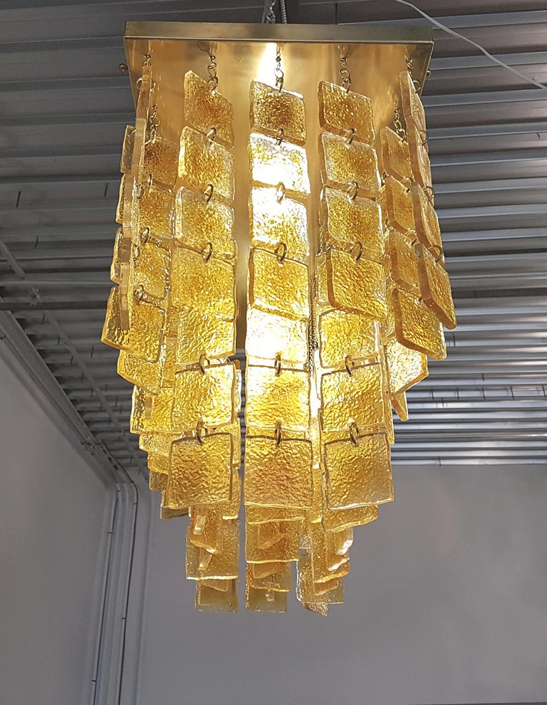 Mid-Century Modern Honey & Brass Murano Glass Flush Mount Light, Sciolari Style For Sale 2