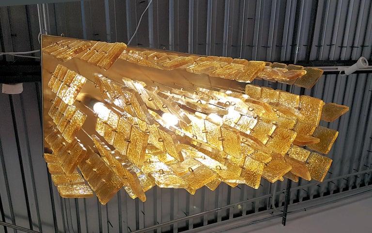 Mid-Century Modern Honey & Brass Murano Glass Flush Mount Light, Sciolari Style For Sale 3
