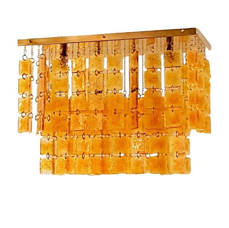 Mid-Century Modern Honey & Brass Murano Glass Flush Mount Light, Sciolari Style For Sale