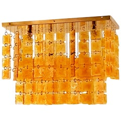 Mid-Century Modern Honey & Brass Rectangular Murano Glass Flush-Mount Chandelier