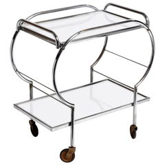 Mid-Century Modern Hungarian Chrome Serving Cart
