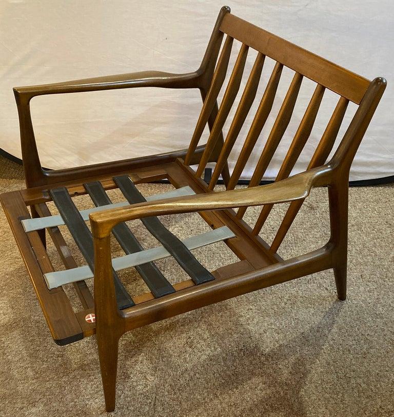 Mid-Century Modern Ib Kofod Larson Selig Arm Lounge Chairs, Pair, Danish Label For Sale 1