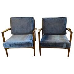Mid-Century Modern Ib Kofod Larson Selig Arm Lounge Chairs, Pair, Danish Label