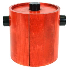 Mid-Century Modern Ice Bucket in Red and Black Wood