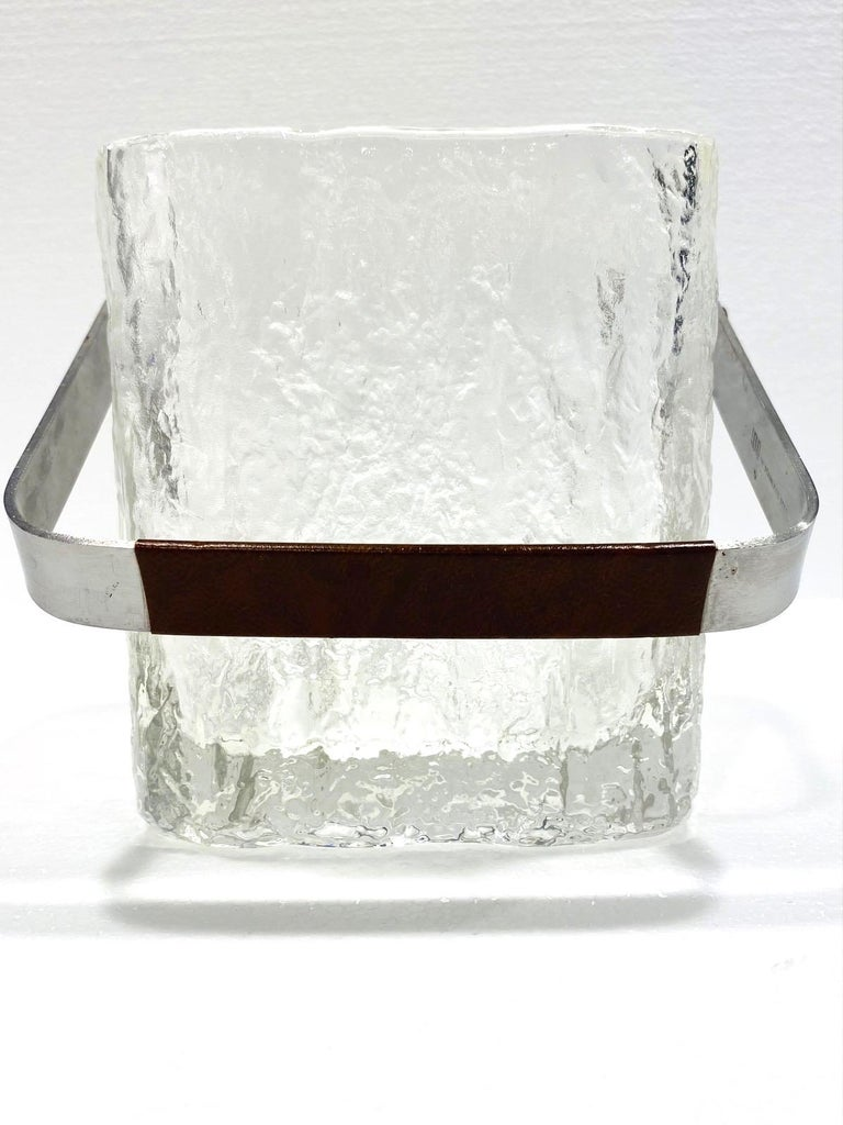 Hand-Crafted Mid-Century Modern Ice Bucket with Textured Ice Glass, Japan, circa 1960s For Sale