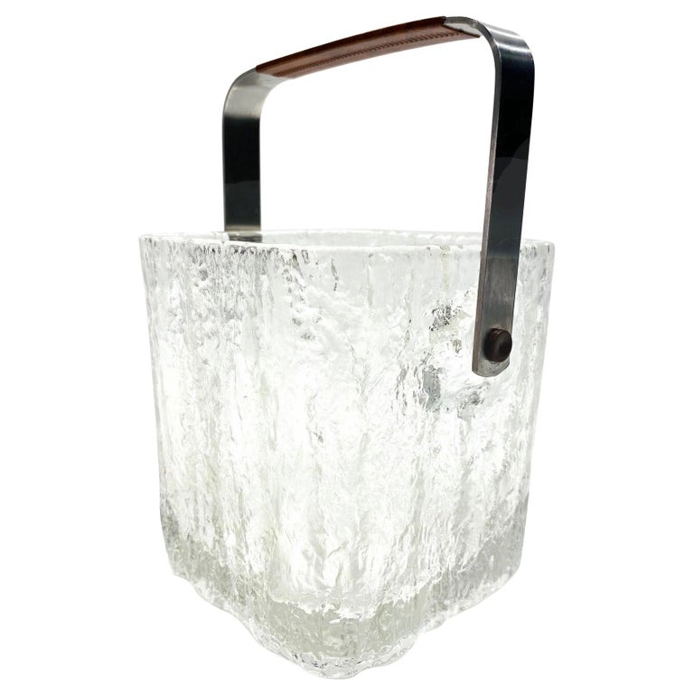 Mid-Century Modern Ice Bucket with Textured Ice Glass, Japan, circa 1960s For Sale