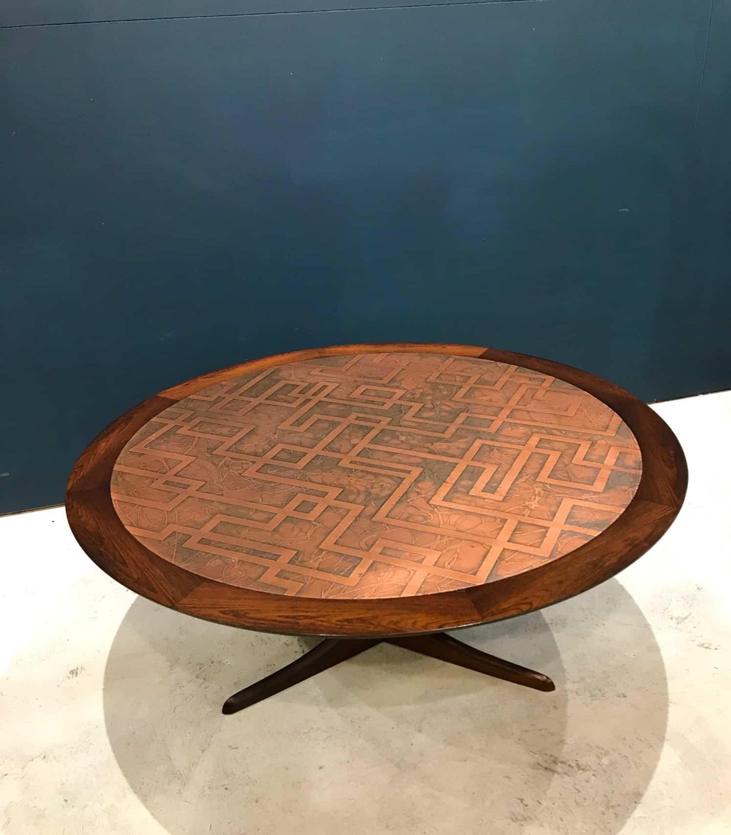Awe Inspiring Mid Century Modern Copper And Hardwood Coffee Table Andrewgaddart Wooden Chair Designs For Living Room Andrewgaddartcom