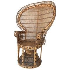 Mid-Century Modern Iconic Emmanuelle Wicker Rattan Midcentury Peacock Armchair