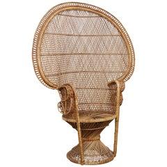 Mid-Century Modern Iconic Large Emmanuelle Wicker Rattan Midcentury Armchair