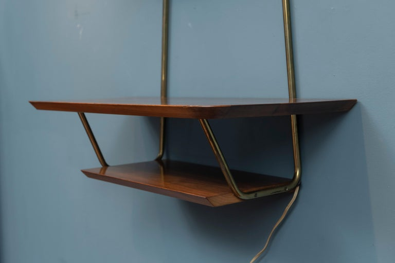 American Mid-Century Modern Illuminated Wall Shelf For Sale