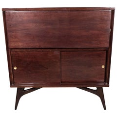 Mid-Century Modern Illuminating Bookmatched Walnut and Brass Bar Cabinet