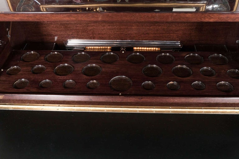 Mid-20th Century Mid-Century Modern Illuminating Bookmatched Walnut and Brass Bar Cabinet For Sale