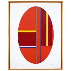 Mid-Century Modern Ilya Bolotowsky Framed Signed Serigraph Oval Geometric, 1970s