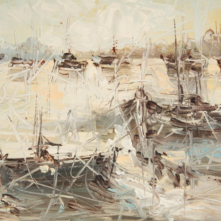 This is a charming oil on canvas of fishing boats in a harbour. It is signed in the lower right hand corner but I am unable to decipher the signature. It is in its original brushed aluminum frame. I bought it for its soft blues and whites, the