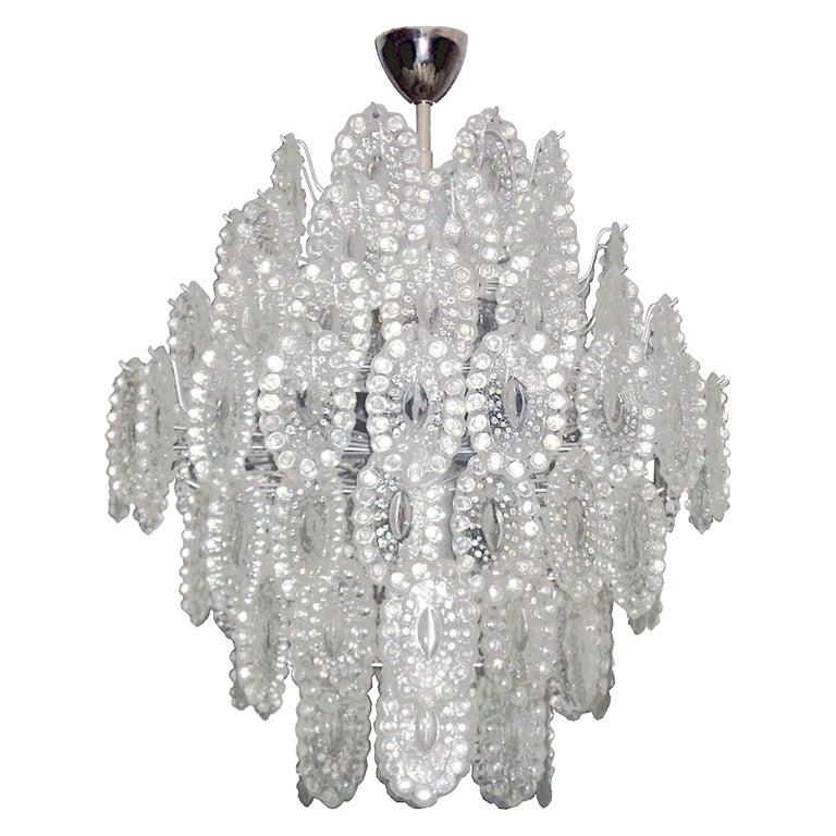 Mid-Century Modern Impressive Crystal Glass European Chandelier For Sale
