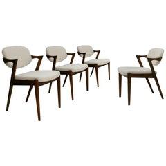 Mid-Century Modern in Style of Kai Kristiansen Danish Walnut Wood Set of Chairs