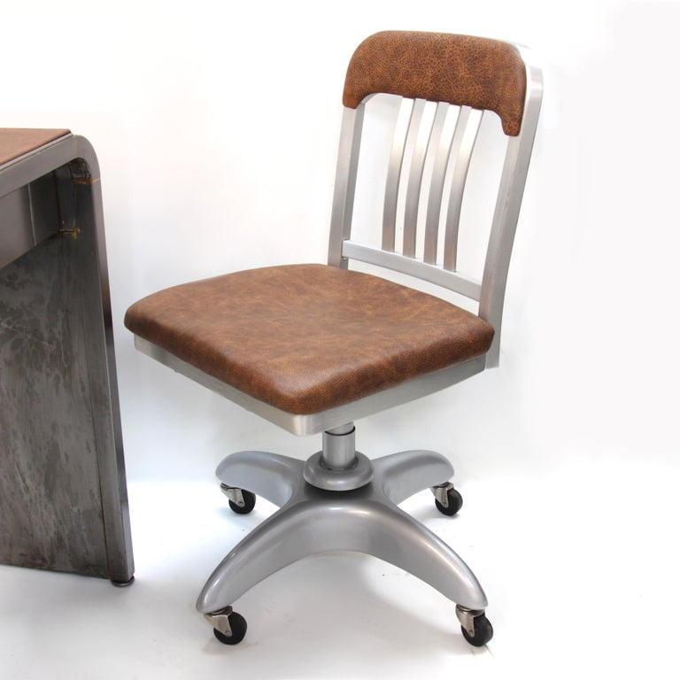 Mid-Century Modern Industrial 3-Piece Office Set with Desk by Norman Bel Geddes For Sale 6