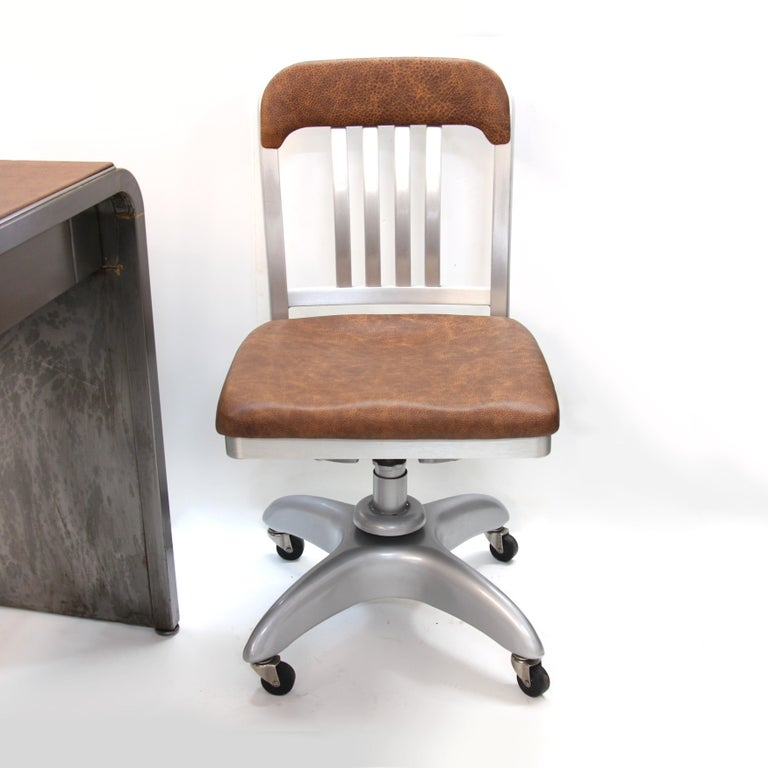 Mid-Century Modern Industrial 3-Piece Office Set with Desk by Norman Bel Geddes For Sale 7