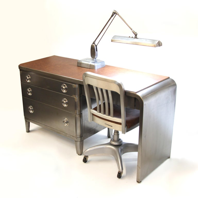 American Mid-Century Modern Industrial 3-Piece Office Set with Desk by Norman Bel Geddes For Sale