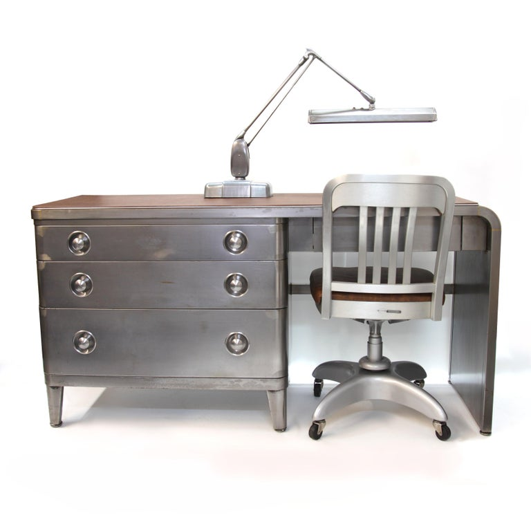 Cast Mid-Century Modern Industrial 3-Piece Office Set with Desk by Norman Bel Geddes For Sale