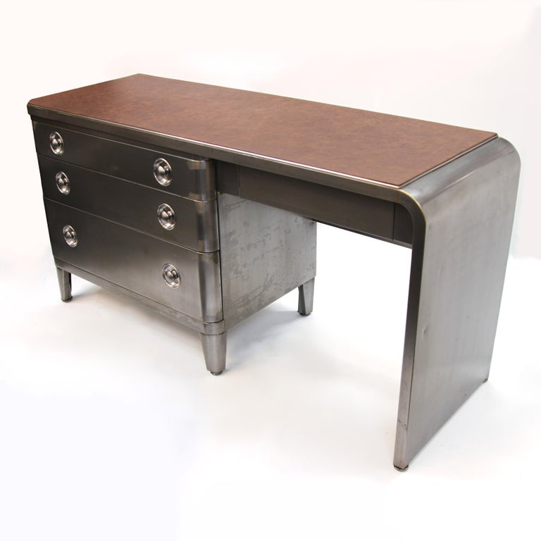 Mid-Century Modern Industrial 3-Piece Office Set with Desk by Norman Bel Geddes In Excellent Condition For Sale In Lafayette, IN
