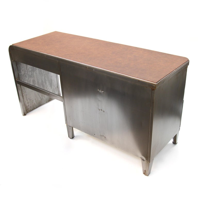 Aluminum Mid-Century Modern Industrial 3-Piece Office Set with Desk by Norman Bel Geddes For Sale