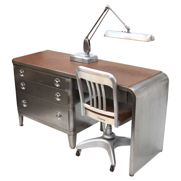 Mid-Century Modern Industrial 3-Piece Office Set with Desk by Norman Bel Geddes For Sale