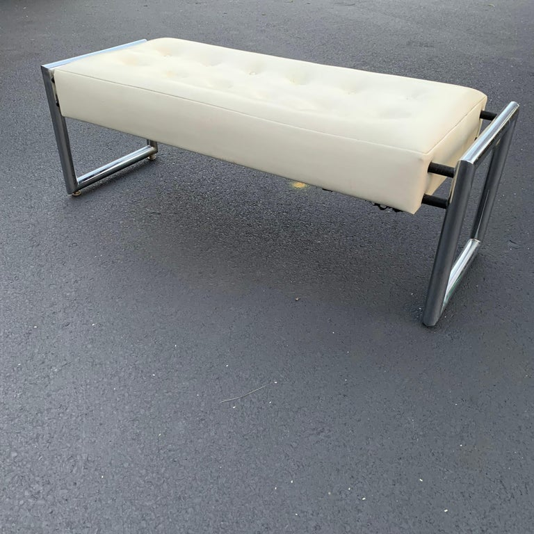 Mid-Century Modern Industrial Chrome Bench with Original White Vinyl Upholstery For Sale 13