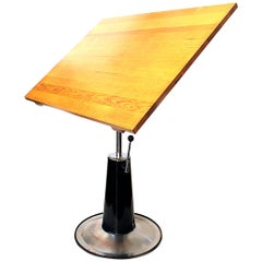 Mid-Century Modern Industrial Hydraulic Adjustable Drafting Table by Belmont