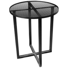 Mid-Century Modern Industrial Style Steel & Chicken Wire Glass Side Table