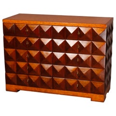 Mid-Century Modern Inlaid 10-Drawer Inlaid Pyramidal Chest by Maitland Smith