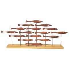 Mid-Century Modern Inspired 16 Fish Sculpture in Vintage Teak by Tyler Fritz