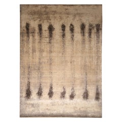 Mid-Century Modern Inspired Beige Brown Wool Rug