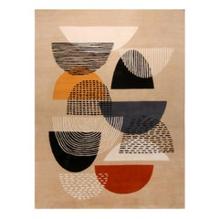Mid-Century Modern Inspired Beige Multi-Color Wool Rug