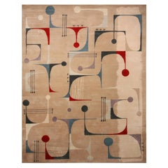 Mid-Century Modern Inspired Beige Red and Blue Multi-Color Wool Rug