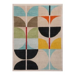 Mid-Century Modern Inspired White Blue and Multi-Color Wool Rug