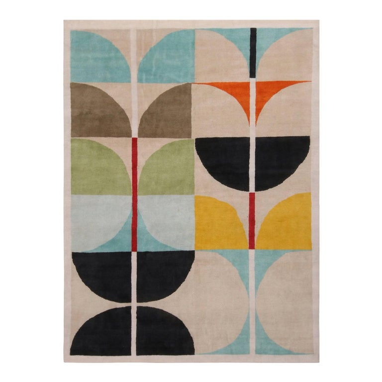 Mid-Century Modern Inspired White Blue and Multi-Color Wool Rug For Sale